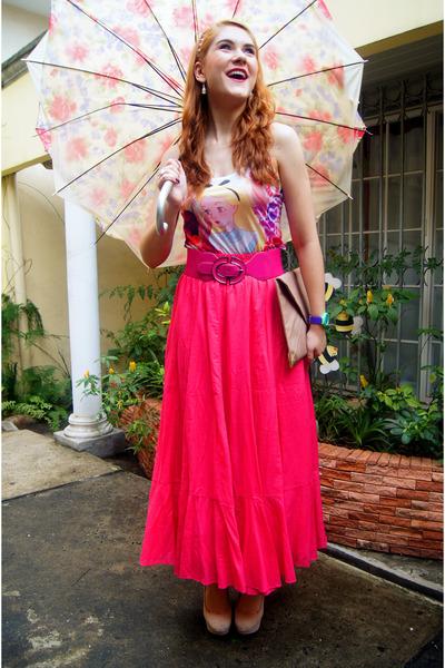 Hot Pink Maxi Skirt Zara Skirts, Eggshell Clutch Asos Bags ...