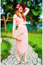 light pink maxi dress Sheinside dress - pink Forever 21 hat