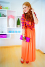 Orange-maxi-dress-french-kiss-dress-carrot-orange-plaid-shirt-mossimo-shirt