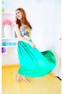Green-maxi-skirt-zara-skirt-chartreuse-bambi-tanktop-forever-21-top