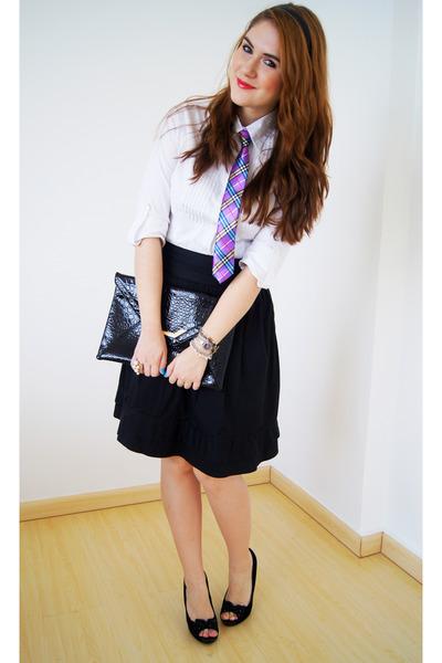 tie Pasarela necklace - clutch asos bag - midi skirt Picnic skirt