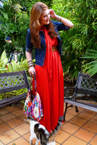 red red maxi dress eShakti dress - navy denim jacket Dolce Donna jacket
