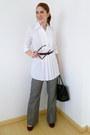 Black-liz-claiborne-purse-heather-gray-pants-black-belt