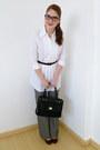 Black-liz-claiborne-purse-white-collar-shirt-top-black-belt