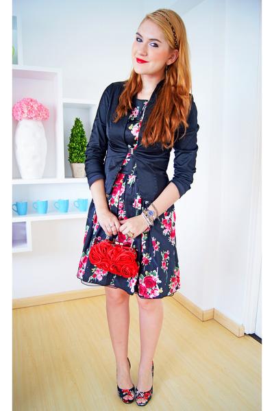 black floral dress Kocal dress - black satin Odds n Evens blazer