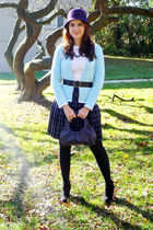 white merona top - blue Steel cardigan - purple Dazz skirt - black Fioni boots -