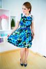 Blue-pumps-christian-siriano-heels-blue-floral-dress-kocal-dress