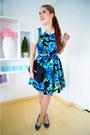 Blue-floral-dress-kocal-dress-white-da-moda-shirt-black-clutch-asos-bag