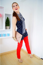 red Aimous jeans - navy striped Zara scarf - eggshell envelope clutch asos bag