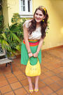White-top-yellow-shoes-green-skirt-yellow-xoxo-purse