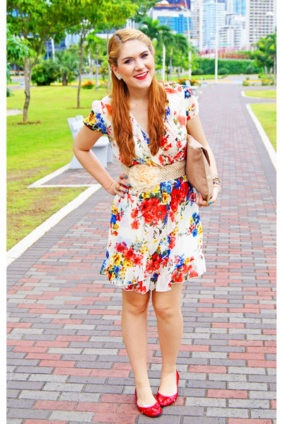 off white floral dress Teenplo dress - camel clutch asos bag