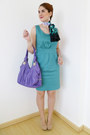 Black-silk-scarf-nicole-miller-scarf-sky-blue-mossimo-dress-amethyst-bag