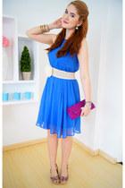 sky blue chiffon dress Forever 21 dress - magenta clutch bag