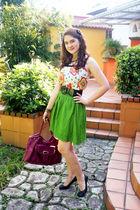 white top - green Old Navy skirt - purple purse - black shoes - black belt