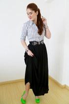chartreuse Qupid heels - black clutch asos bag - black maxi skirt Zara skirt
