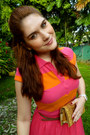 Eggshell-white-bow-amanda-smith-heels-carrot-orange-isaac-mizrahi-dress