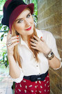 Maroon-cloche-hat-hat-white-chiffon-blouse-forever-21-shirt