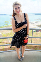 red ladybug bag asos bag - black polka dot dress Ralph Lauren dress