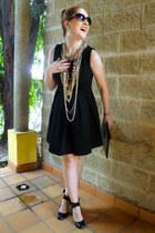 black a-line Zara dress - black clutch asos bag - black via vai sunglasses