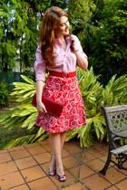 red circle pattern Skoozi skirt - red faux crocodile purse