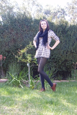  scarf - Forever21 blouse -  tights - Gap shoes
