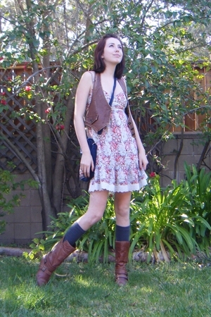 night market vest - Forever21 dress - Target socks - Bakers boots - gramma purse