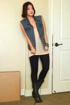 diy J Crew vest - black lace up boots Target boots