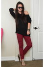 Black-sweater-forever-21-sweater-camel-flat-sandals-target-sandals