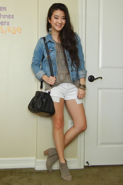 white denim Forever 21 shorts - heather gray cotton Forever 21 t-shirt