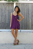 magenta cotton Lush dress - brown ONeill wedges
