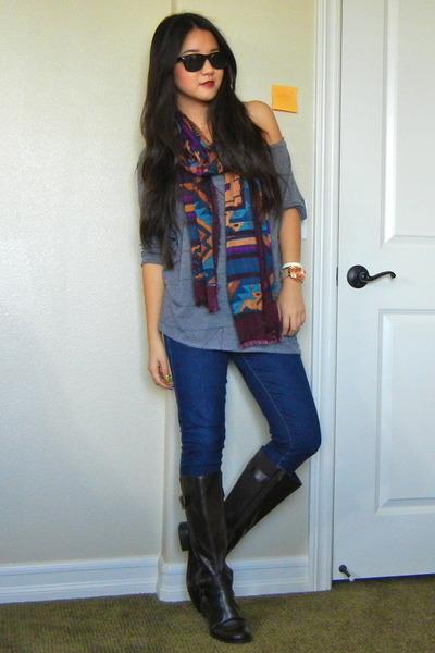 d02fdb22fd3 tribal no brand scarf - dark brown riding boots Easy Spirit boots