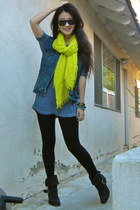 chartreuse scarf Forever 21 scarf - black booties Donald J Pliner boots