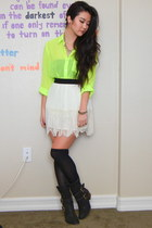 ivory lace Forever 21 skirt - black leather Donald J Pliner boots