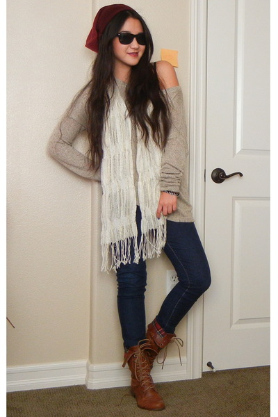 243142c065e tan knit Forever 21 sweater - brown lace-up Target boots