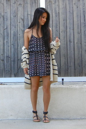 beige Forever 21 cardigan - black chiffon Forever 21 dress