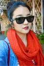 Denim-shirt-forever-21-shirt-red-infinity-scarf-cotton-on-scarf
