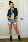 Black-cropped-forever-21-jacket-light-blue-denim-shorts-american-eagle-shorts