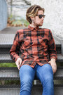 Kenneth-cole-boots-topman-jeans-plaid-shirt-wesc-shirt