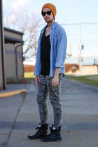 beanie 21MEN hat - combat boots Steve Madden boots - denim shirt J Crew shirt