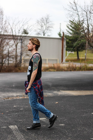 tank top Evolution Stops Here top - Steve Madden boots - WESC jeans