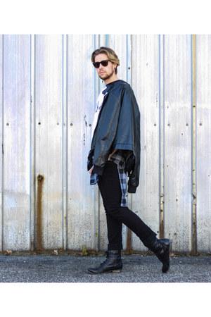 leather jacket Black Apple jacket - Steve Madden boots - Kr3w jeans - WESC shirt