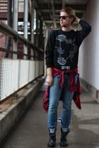 sweatshirt DFYNT sweatshirt - combat boots Steve Madden boots - WESC jeans