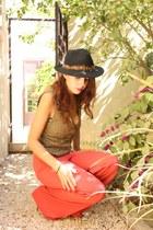 diy flare pants DIY pants - thrifted vintage hat - diy studded bra DIY bra