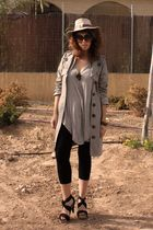 beige Zara hat - black Zara shoes - black H&M leggings