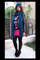 black Newlook jacket - pink Newlook shoes - black H&M sweater - blue H&M scarf