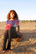 purple H&M dress - pink Sonia Rykiel vintage purse - pink Newlook shoes - orange