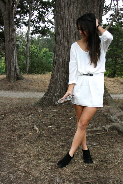 white Zara dress - black leather booties Target boots