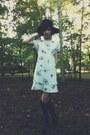 Black-vintage-hat-white-thrifted-dress-black-knee-high-ebay-stockings