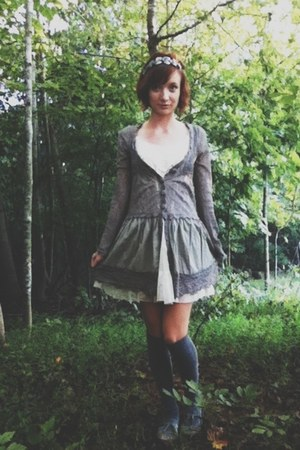 lace mesh Target dress - rose crochet areve cardigan - knee-high Ebay stockings