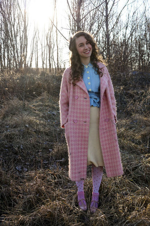 bubble gum Vintage plaid coat - sky blue 1950s peplum bodice top